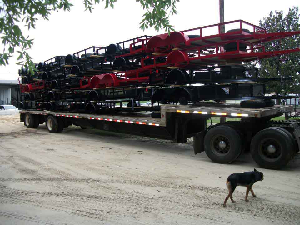 Stack of Black Utility Trailers